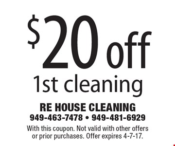 $20 off 1st cleaning. With this coupon. Not valid with other offersor prior purchases. Offer expires 4-7-17.