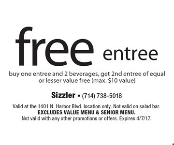 Free entree – buy one entree and 2 beverages, get 2nd entree of equal or lesser value free (max. $10 value). Valid at the 1401 N. Harbor Blvd. location only. Not valid on salad bar. Excludes value menu & senior menu.Not valid with any other promotions or offers. Expires 4/7/17.