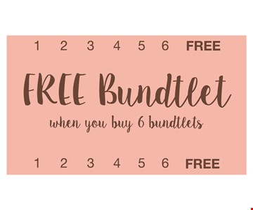 Free Bundtlet when you buy 6 bundtlets. Limit one per guest. Cannot be combined with any other offer. Redeemable only at the bakery listed. Must be claimed in-bakery during normal business hours. No cash value. Expires 4/15/17.