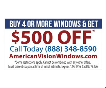 $500 off when you buy 4 or more windows