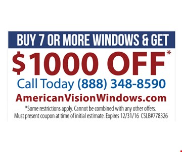 $1000 off when you buy 7 or more windows