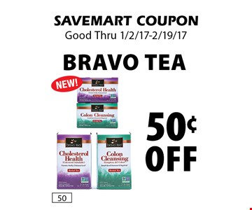 50¢ Off Bravo Tea.  SAVEMART COUPON. Good Thru 1/2/17-2/19/17.