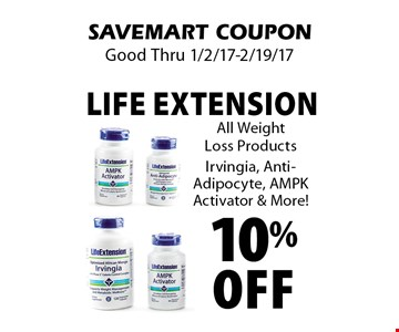 10% Off Life Extension All Weight Loss Products. Irvingia, Anti-Adipocyte, AMPK Activator & More! SAVEMART COUPON. Good Thru 1/2/17-2/19/17.