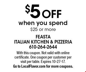 $5 Off when you spend $25 or more. With this coupon. Not valid with online certificate. One coupon per customer per visit per table. Expires 10-27-17. Go to LocalFlavor.com for more coupons.