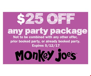 $25 off any party package
