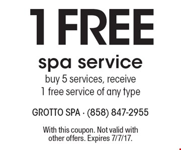 1 Free spa service. Buy 5 services, receive 1 free service of any type. With this coupon. Not valid with other offers. Expires 7/7/17.