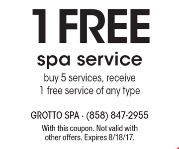 1 FREE spa service - buy 5 services, receive 1 free service of any type. With this coupon. Not valid with other offers. Expires 8/18/17.