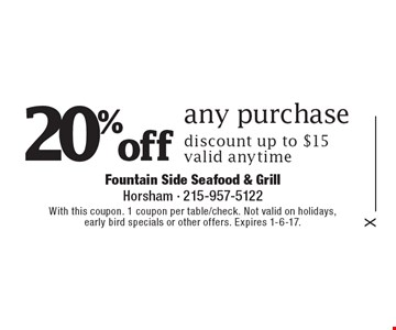 20% off any purchase discount up to $15. Valid anytime. With this coupon. 1 coupon per table/check. Not valid on holidays, early bird specials or other offers. Expires 1-6-17.