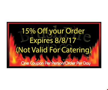 15% OFF your Order ( not valid for catering )