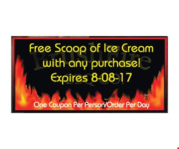 free scoop of ice cream with any purchase