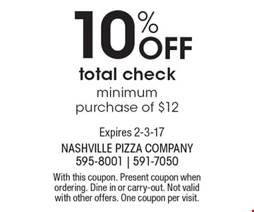 10% Off total check, minimum purchase of $12. With this coupon. Present coupon when ordering. Dine in or carry-out. Not valid with other offers. One coupon per visit. Expires 2-3-17