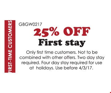 25% Off First Stay
