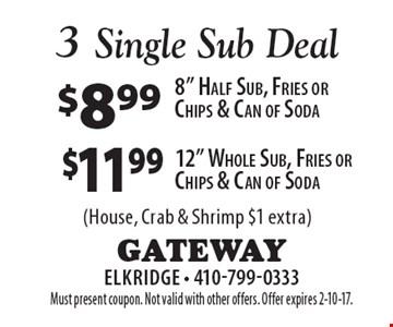Single sub deal - $11.99 12