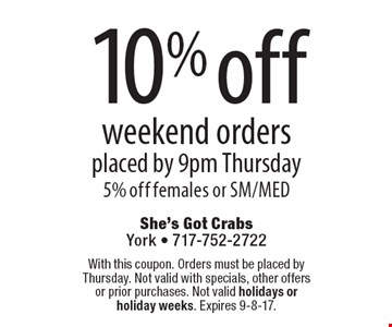 10% off weekend orders, placed by 9pm Thursday. 5% off females or SM/MED. With this coupon. Orders must be placed by Thursday. Not valid with specials, other offers or prior purchases. Not valid holidays or holiday weeks. Expires 9-8-17.