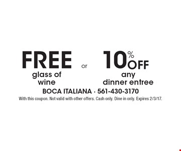 Free Glass Of Wine  OR  10% Off Any Dinner Entree. With this coupon. Not valid with other offers. Cash only. Dine in only. Expires 2/3/17.