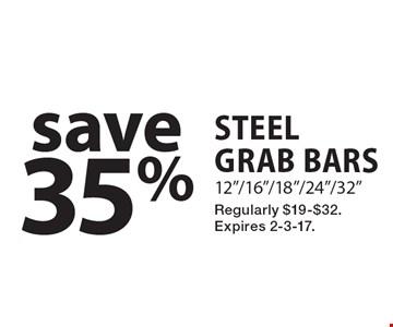 save 35% steel grab bars 12