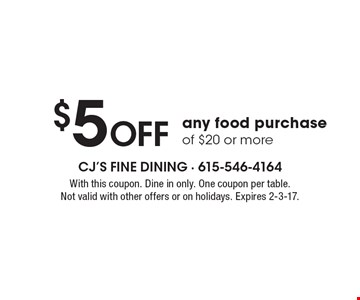 $5 Off any food purchase of $20 or more. With this coupon. Dine in only. One coupon per table. Not valid with other offers or on holidays. Expires 2-3-17.