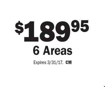 $189.95 For 6 Areas Cleaned. Expires 3/31/17. CM
