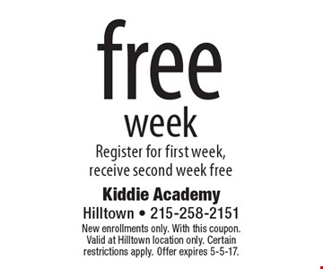 Free Week. Register for first week, receive second week free. New enrollments only. With this coupon.Valid at Hilltown location only. Certain restrictions apply. Offer expires 5-5-17.