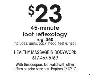 $23 45-minute foot reflexology. Reg. $60. Includes, arms, back, head, feet & neck. With this coupon. Not valid with other offers or prior services. Expires 2/17/17.