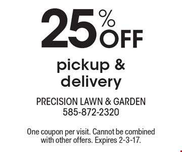 25% Off pickup & delivery. One coupon per visit. Cannot be combined with other offers. Expires 2-3-17.