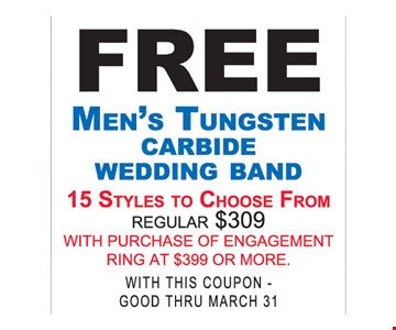 Free Men's Tungsten Carbide Wedding Band With Purchase of Engagement Ring