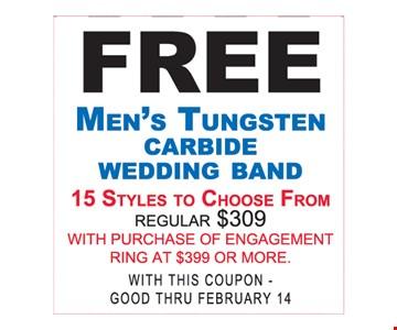 Free Men's Tungsten Carbide Wedding Band
