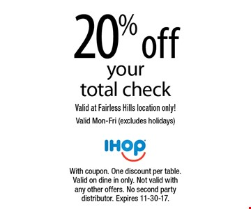 20% off your total check. Valid at Fairless Hills location only! Valid Mon-Fri (excludes holidays). With coupon. One discount per table. Valid on dine in only. Not valid with any other offers. No second party distributor. Expires 11-30-17.