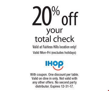 20% off your total check. Valid at Fairless Hills location only! Valid Mon-Fri (excludes holidays). With coupon. One discount per table. Valid on dine in only. Not valid with any other offers. No second party distributor. Expires 12-31-17.