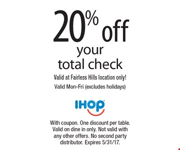 20% off your total check. Valid at Fairless Hills location only! Valid Mon-Fri (excludes holidays). With coupon. One discount per table. Valid on dine in only. Not valid with any other offers. No second party distributor. Expires 5/31/17.