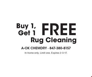 Buy 1, Get 1 FREE Rug Cleaning. In-home only. Limit one. Expires 2-3-17.