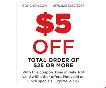 $5 off total order of $25 or more