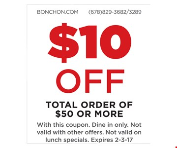 $10 off total order of $50 or more