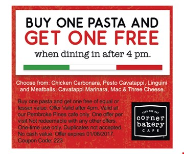 Buy one pasta and get one free