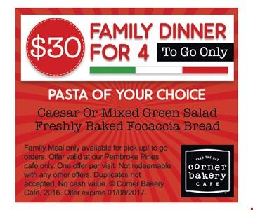 $30 family dinner for 4