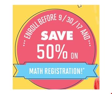 Save 50% on math registration