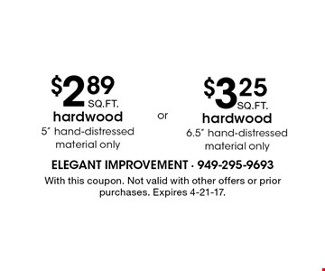 $3.25 SQ.FT. hardwood 6.5