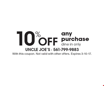 10% Off any purchase. Dine in only. With this coupon. Not valid with other offers. Expires 3-10-17.
