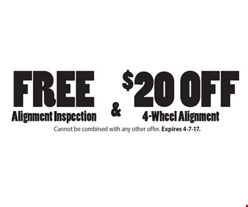Free Alignment Inspection & $20 off 4-Wheel Alignment. Cannot be combined with any other offer. Expires 4-7-17.
