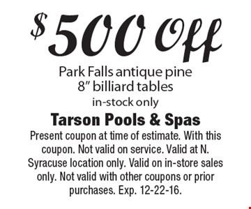 $500 off Park Falls antique pine 8