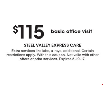 $115 basic office visit. Extra services like labs, x-rays, additional. Certain restrictions apply. With this coupon. Not valid with other offers or prior services. Expires 5-19-17.