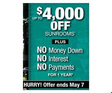 up to $4000 off sunrooms