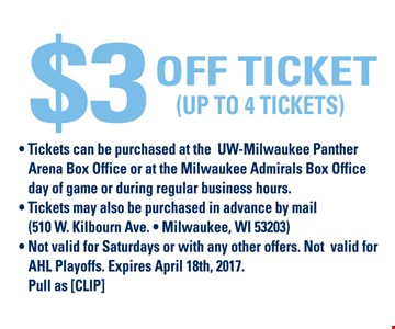 $3 Off Ticket