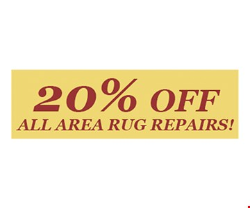 20% Off All Area Rug Repairs