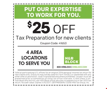 $25 Off Tax Preparation for new clients