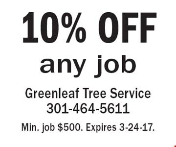 10% OFF any job. Min. job $500. Expires 3-24-17.