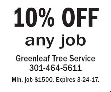 10% OFF any job. Min. job $1500. Expires 3-24-17.