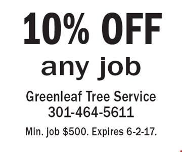 10% OFF any job. Min. job $500. Expires 6-2-17.