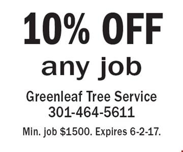 10% OFF any job. Min. job $1500. Expires 6-2-17.