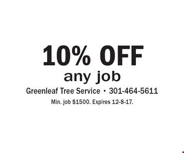10% OFF any job. Min. job $1500. Expires 12-8-17.